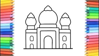 How To Draw A Mosque for Kids 💙💜💖 Mosque Drawing and Coloring Pages for Children