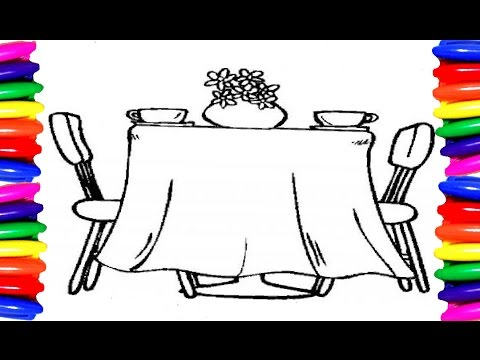 Coloring Pages Dining Room| Furniture Drawing Pages| Color ...