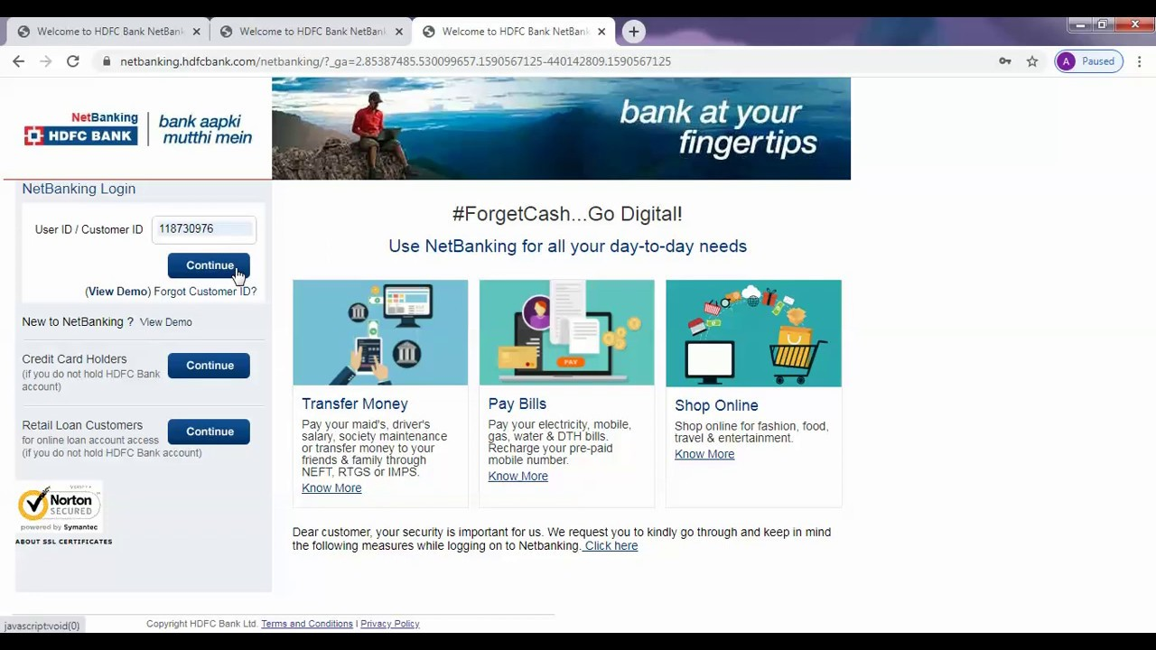 how to reset hdfc bank netbanking password without otp