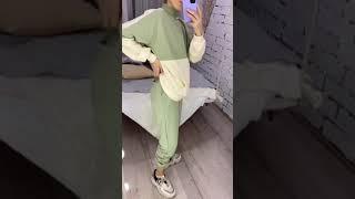 Женский Трикотажный спортивный костюм в стиле оверсайз