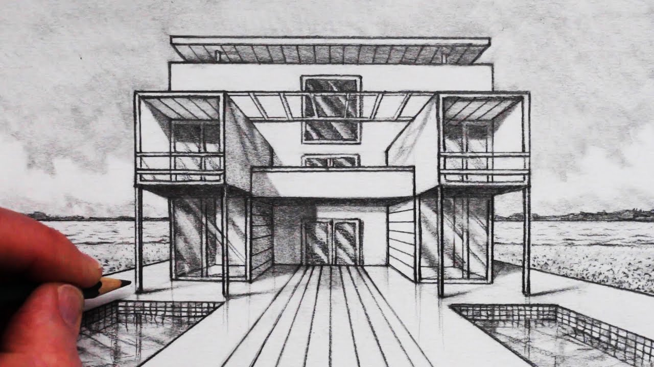 How to Draw Buildings in 1-Point Perspective: Cube House ...