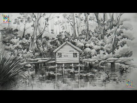 How To Draw and Shade A Landscape In A Forest With PENCIL | Sketching | Shading | Pencil Art