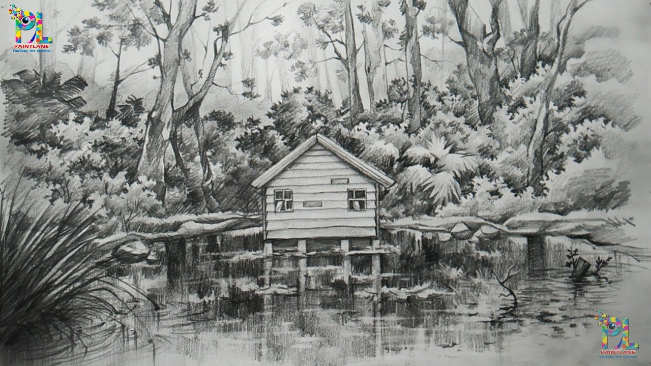 How To Draw And Shade A Landscape In Forest With PENCIL