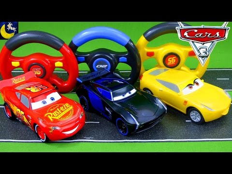 Remote Control Disney Cars 3 Toys! RC Lightning McQueen Jackson Storm Cruz Ramirez Race Crash Toys