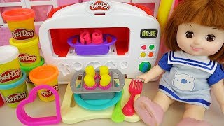 Baby doll and Play doh cooking micro oven kitchen toys play