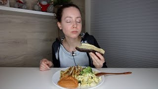 ASMR Whisper Eating Sounds | French Fries, Scrambled Broccoli Tofu & Baked Eggplant | Mukbang