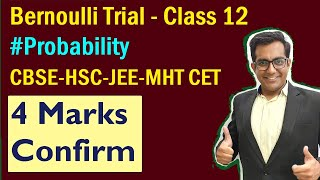 Bernoulli Trial - Class 12  - Binomial distribution probability (solve with easy steps)