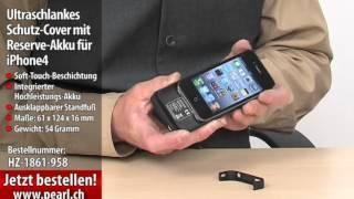 Callstel Ultraschlankes Schutz-Cover mit Reserve-Akku für iPhone 4/4S