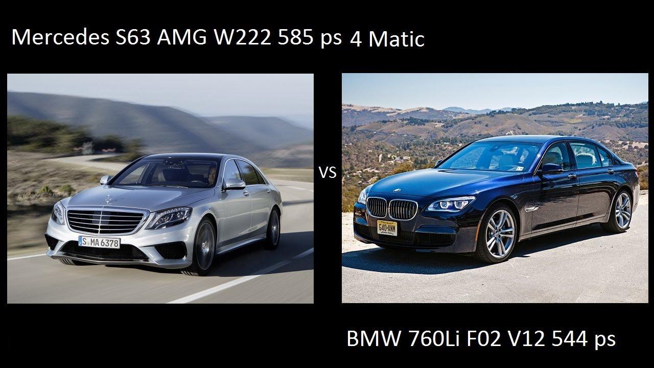 Mercedes S63 AMG W222 4Matic 2013 2014 Vs BMW 760Li F01 02 2012 Drag Acceleration