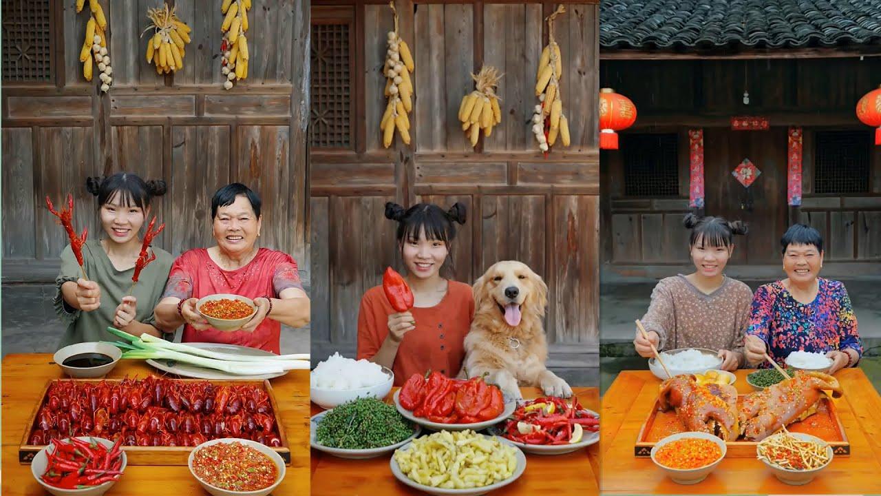 Rural girls eat ten catties of chili feast, spicy pig's head, and crayfish 农村大胃王消灭10斤辣椒宴,麻辣猪肉肉,麻辣小龙虾