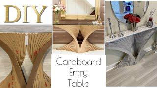 DIY MODERN ENTRYWAY TABLE HOME DECOR USING CARDBOARD!