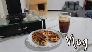 VLOG | 홈카페 카라멜라이징 크로플 만들기! 부제 …