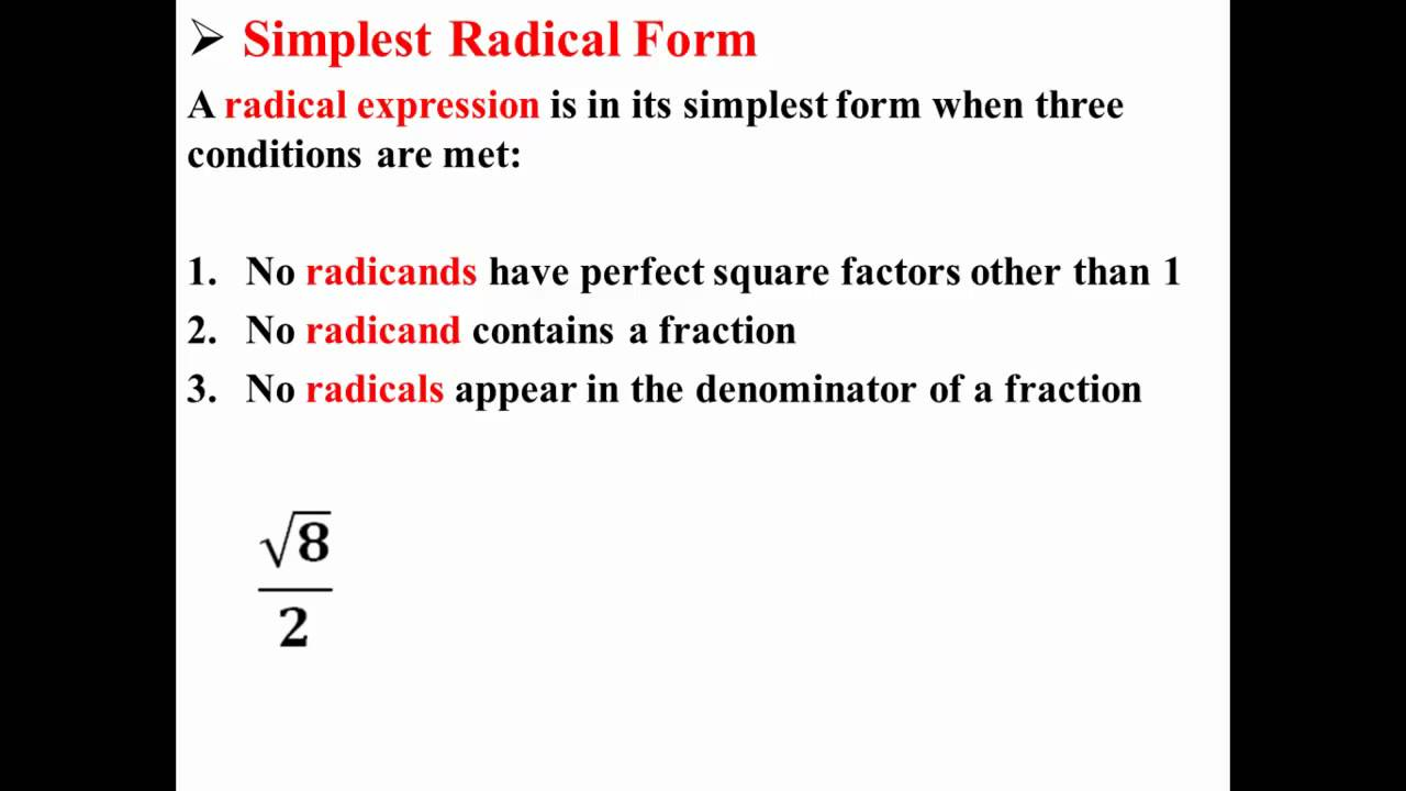 Simplest Radical Form YouTube – Simplest Radical Form Worksheet