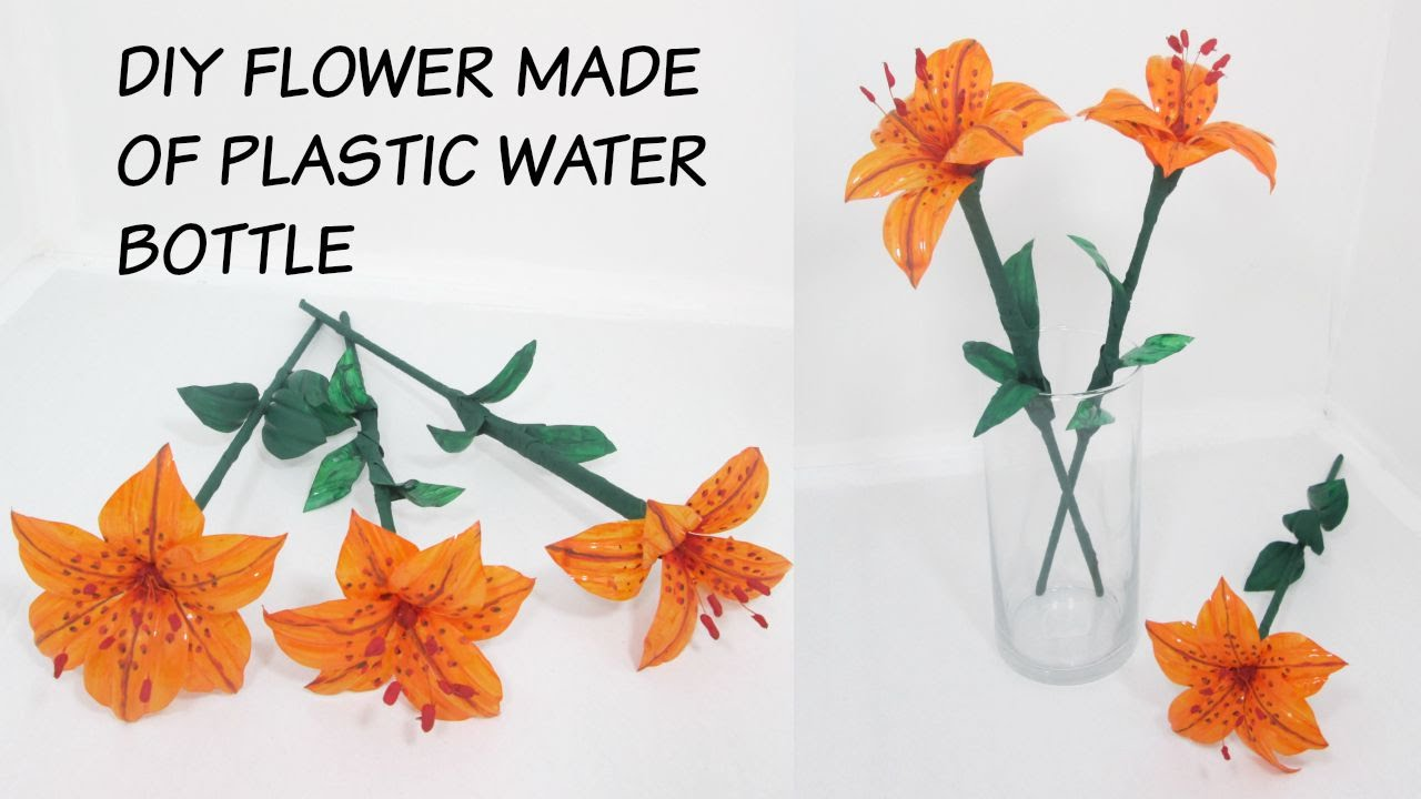 Craft from recycled material flower made of plastic for Waste material flower making
