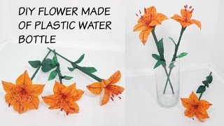CRAFT  FROM RECYCLED MATERIAL- FLOWER MADE OF PLASTIC BOTTLE