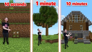Building A Minecraft Base In 10 seconds, 1 Minute, 10 Minutes!