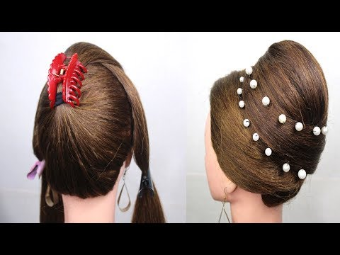 latest-juda-bun-hairstyle-with-gown-|-party-hairstyle-for-long-hair-|-clutcher-hairstyle/hairstyles
