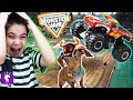 MONSTER TRUCK JAM! El Torro Loco Track and Video Game App PLAY with HobbyKidsTV