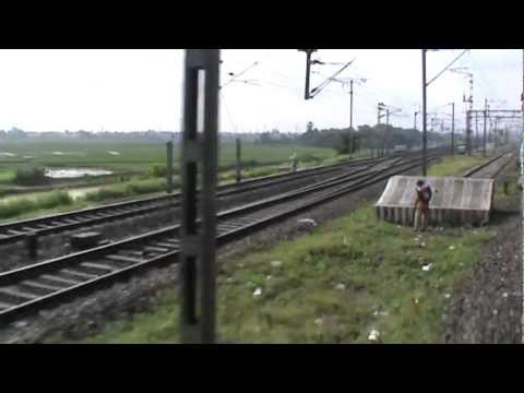 Departing from Burdwan Junction and accelerating with WAP-7 Black Diamond Express