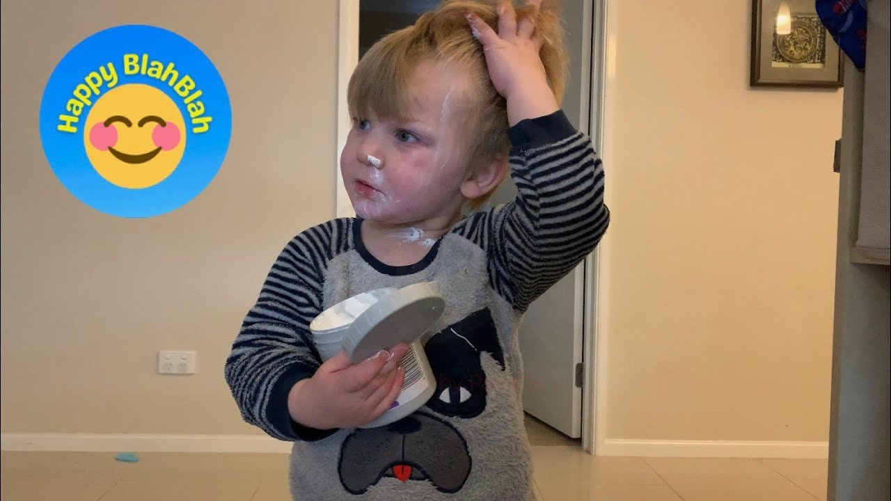 Sweet Little Boy STOPS After Mom Tells Him That's Bum Cream On His Face