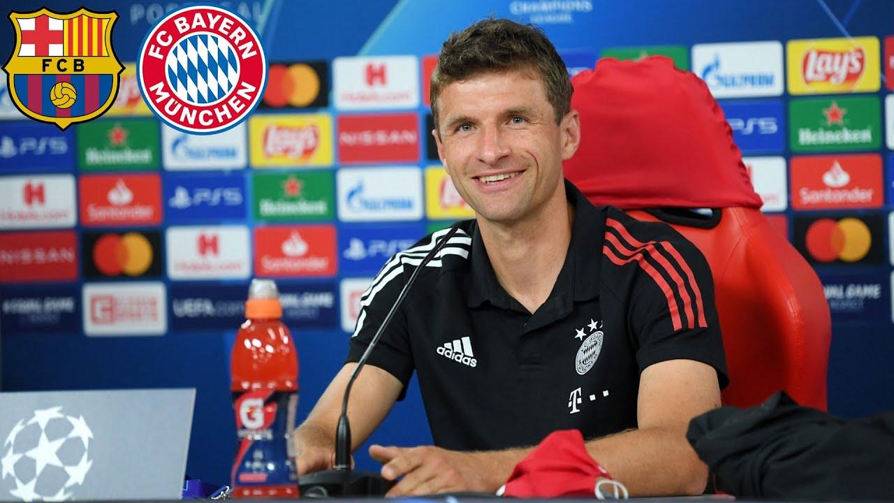 Lewandowski oder Messi? Pressekonferenz mit Thomas Müller & Hansi Flick   FC Barcelona - FC Bayern