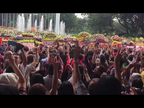 Supporters of outgoing Jakarta governor Ahok at Indonesia's City Hall