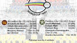 Pakistan vs. Sri Lanka at Perth 1992 Cricket World Cup