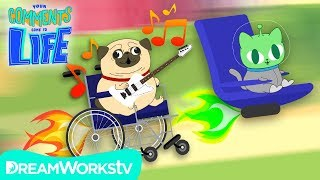Singing Pug Races Space Cat! | YOUR COMMENTS COME TO LIFE