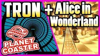 The TRON Ride  + Alice in Wonderland   PARKTOUR!! - PLANET COASTER (deutsch)