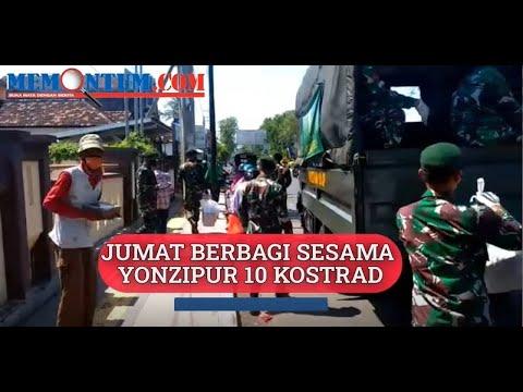 Yonzipur 10JP2 Kostrad Bagikan 2 500 Nasi Kotak ke Tukang Becak dan Pengguna Jalan Probolinggo