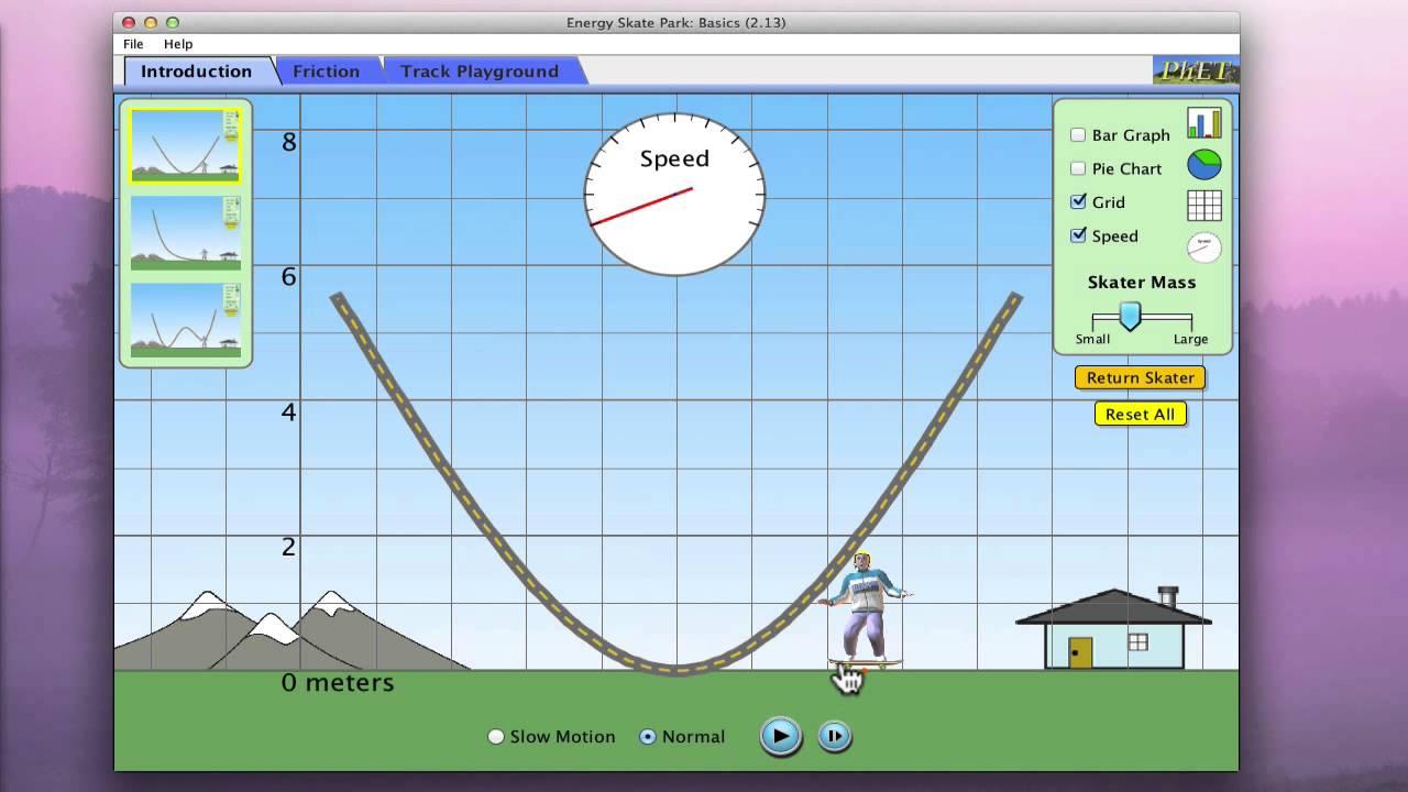 PhET Energy Skate Park Simulator's Basic Instructions ...