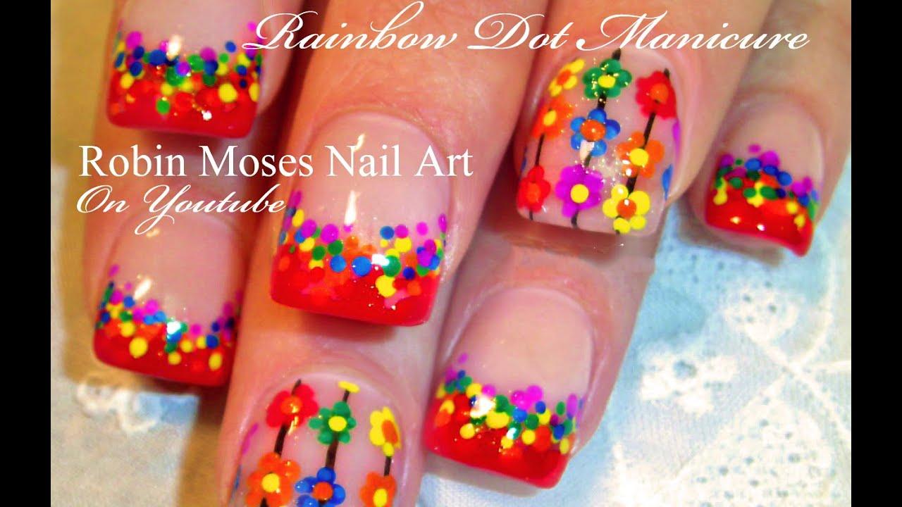 DIY Easy Rainbow nails! | Dot Daisy Nail Art Dotticure - YouTube