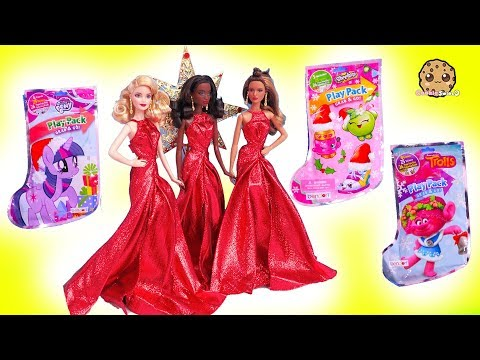 Surprise Blind Bag Toys + Holiday Christmas Barbie Doll Haul - Cookie Swirl C Video