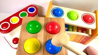 Preschool Toddler and Kid   Video: Colors with Wooden Pounding Balls