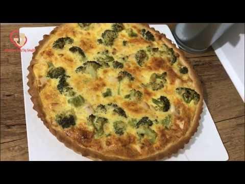 recette-de-quiche-au-poulet-et-brocoli-كيش-بالدجاج-والبروكلي-وعجينة-سحرية-بدون-بيض-ولا-زبدة