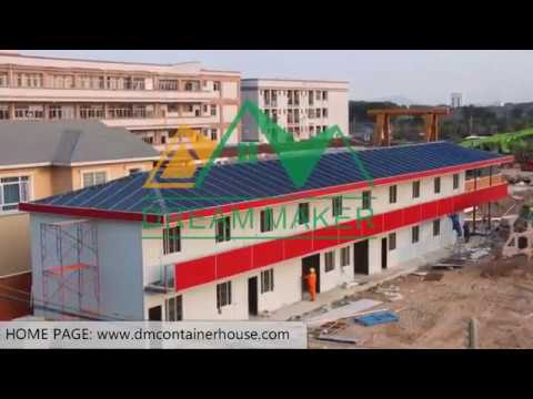 Easy-fast install Prefabricated T House Prefabe house frames office hotel installation video