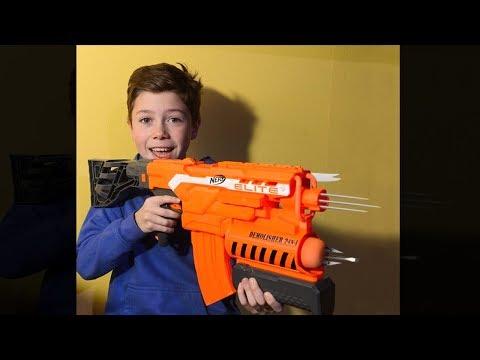 kid builds a dangerous illegal nerf gun mod..