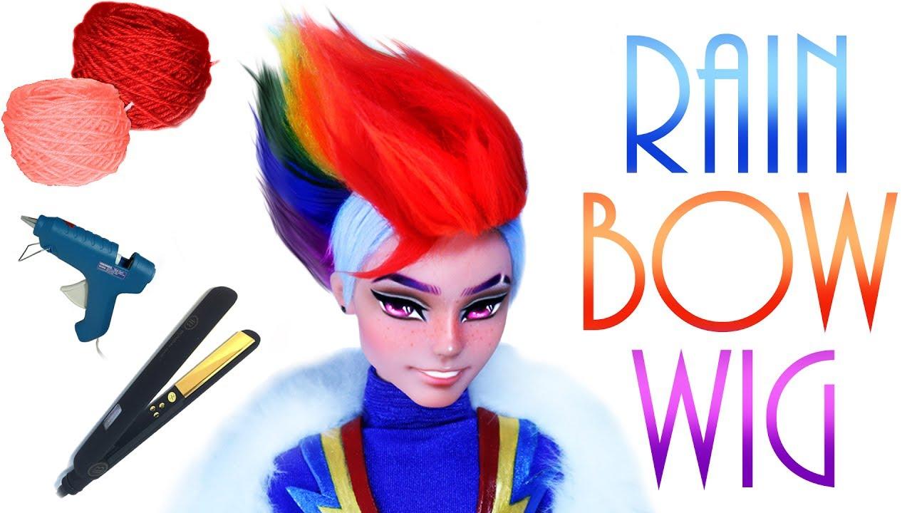 Rainbow Faux hawk Doll Wig [ Rainbow Dash MLP ]