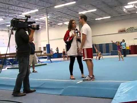 WGN TV Around Town Ana Belaval with Olympic Gold Medalist Paul Hamm at Premier Gymnastics