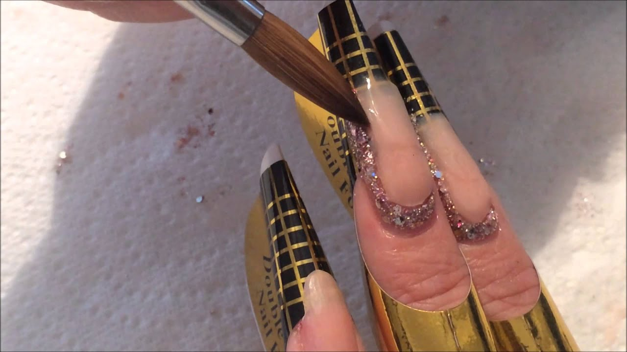 Side Cuff Nail | Sculptured Acrylic Design - YouTube
