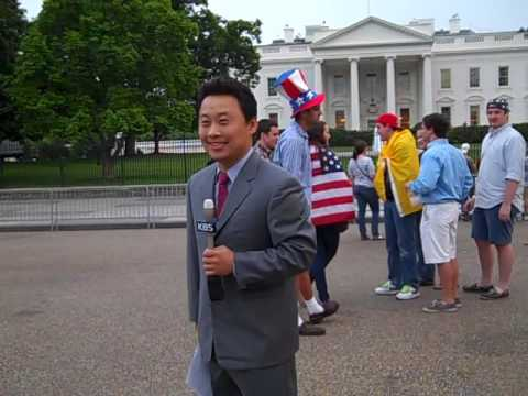 Korean broadcasting system on the scene at the whitehouse
