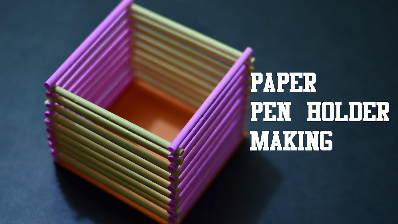 how to make easy peaper pen pencil holder easy paper craft youtube. Black Bedroom Furniture Sets. Home Design Ideas
