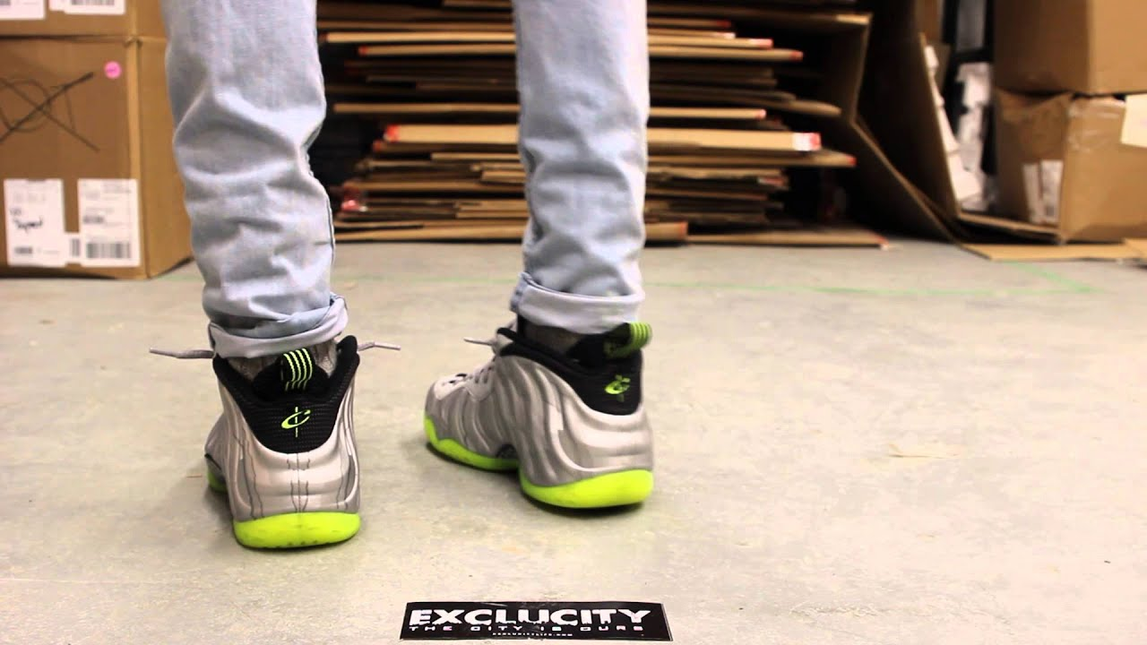 save off e851d 5c9f6 Nike Foamposite One PRM Silver - Volt On-feet Video at Exclucity