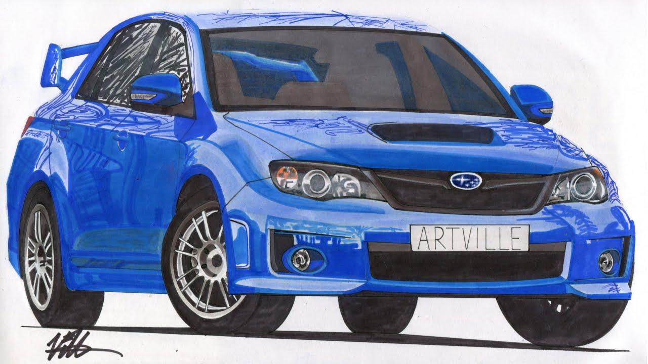realistic car drawing - 2012 subaru impreza wrx sti - time lapse