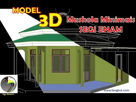 model 3d bangunan mushola tengbot inventor