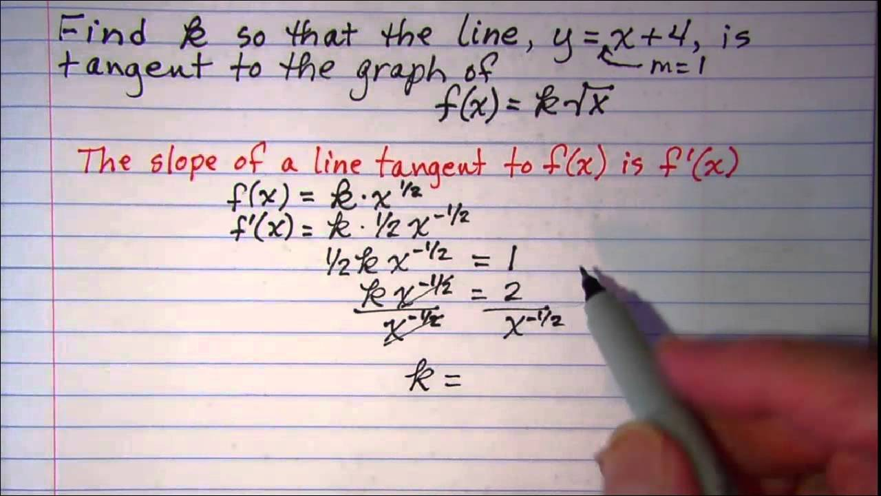 Finding K So That The Line Is Tangent To The Curve