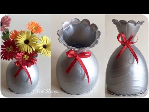 Best Out Of Waste Plastic Bottle Flower Vase - 14 / DIY / Plastic Bottle Craft Idea | Priti Sharma