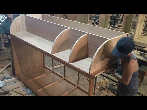 Amazing Woodworking Technique Of Carpenter // How To Build Refrigerator Cabinets Surround!!!
