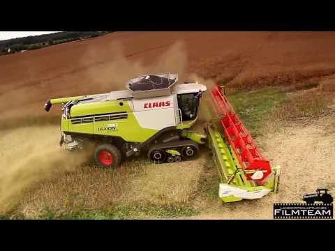 Claas Lexion 780 TT Mähdrescher und ein John Deere 7430 bei der Raps Ernte 2013 / combine harvester