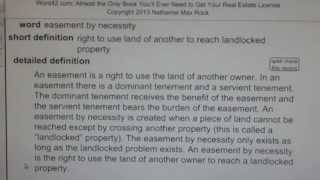 easement by necessity CA Real Estate License Exam Top Pass Words VocabUBee.com